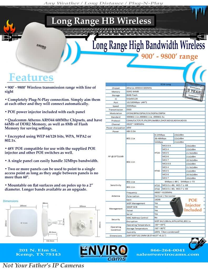 Wireless Specs Long HB