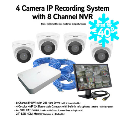 4 camera Freezer and Cold Storage security camera package with audio & video recording