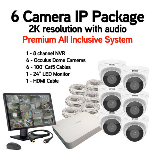 6 Camera IP Package with Audio and video recording
